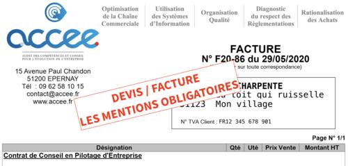 Devis / Factures : Les mentions obligatoires