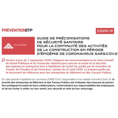 Recommandations sanitaires de la construction et du BTP : Version 5